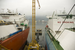 Tankers in shipyard Stock Images