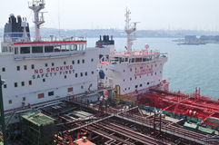 Tankers in shipyard royalty free stock photo