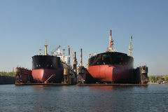 Tankers to dock. Tankers to dock at the shipyard of Gdansk, Poland royalty free stock photos