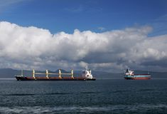 Tankfartyglastfartyg Astoria Oregon, USA Arkivbilder