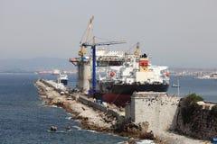 Tankfartygship i docken Royaltyfri Fotografi