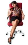 Tankfull ung kvinna som sitter på stol Arkivfoton