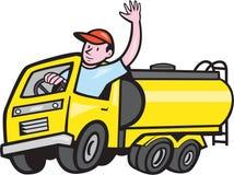 Tanklastzug-Fahrer Waving Cartoon Stockfoto