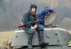 Tankman rest on tower Stock Photo