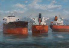 Tankowów statki, klasyczny handmade obraz fotografia stock