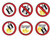 Tanks. Prohibitory signs with the image of the explosion and the tank Stock Image