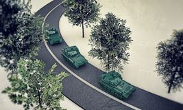 Tanks along a road Royalty Free Stock Photo