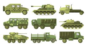 Free Tanks And Armoured Trucks Camouflage Vehicles Collection Side View Stock Image - 166063041