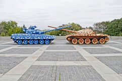 Tanks with the connected trunks in Kiev Royalty Free Stock Image