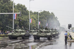 Tanks and croatian army in the centre of Zagreb Royalty Free Stock Photos