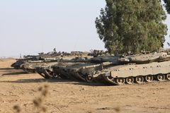 Tanks in Desert Royalty Free Stock Photo