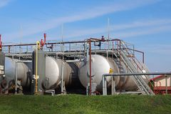 Tanks - elements of oil pump station. Tansport and distribution of oil. Technology of oil transportation system. Training manual f royalty free stock photography