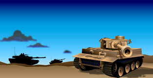 Tanks in Evening Illustration. A illustrated depiction of tanks roaming around in the evening hours of dusk, in a desert landscape vector illustration