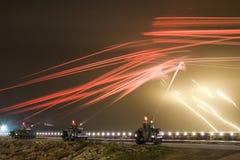 Tanks firing. Tanks at night shooting training Stock Photos