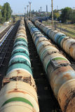 Tanks with fuel on freight railway station.  Royalty Free Stock Photo
