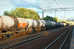 Tanks with fuel  by rail Stock Photos