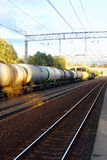 Tanks with fuel  by rail Royalty Free Stock Image