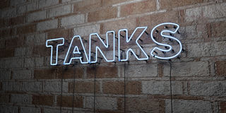TANKS - Glowing Neon Sign on stonework wall - 3D rendered royalty free stock illustration. Can be used for online banner ads and direct mailers Stock Photos