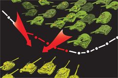 Tanks Invasion. Drawn in doodle style illustration of an abstract border line and tanks invasion, concept of war and aggression Stock Image