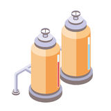 Tanks for liquid, chemical or food industry. Vector illustration in isometric projection,  on white background. Yellow tanks for liquid with pipes, chemical or Royalty Free Stock Photos