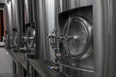 Tanks in microbrewery Royalty Free Stock Photography