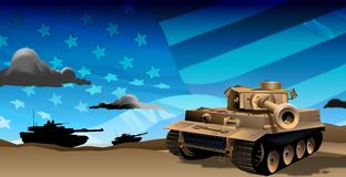 Tanks at Night. A depiction of tanks roaming around in the evening hours, prepared for battle. The american flag is in the background giving the illustration a royalty free illustration