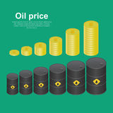 Tanks with oil. And coins dollar on increasing. Concept of increase in the income, sales, enrichments. Isometric vector illustration, 3D style Royalty Free Stock Photo