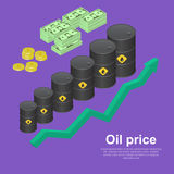 Tanks with oil. With the schedule of growth. The concept of increase in profitability from sales. A vector illustration in isometric, 3D style Stock Photo