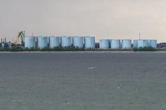 Tanks of oil terminal harbor Stock Photo