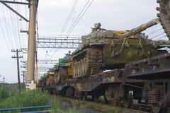 Tanks op trein Royalty-vrije Stock Afbeelding