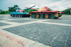 Tanks painted with flowers Royalty Free Stock Images