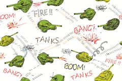 Tanks Pattern. Funny armored tanks drawn in doodle style, moving across seamless pattern Stock Photos