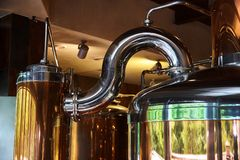 Tanks and pipes made of stainless steel stock photos