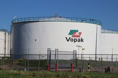 Tanks and pipes at Vopak Terminal for the chemical industries in the Botlek Harbor in Rotterdam in the Netherlands. Tanks and pipes at Vopak Terminal for the royalty free stock photos