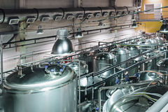 Tanks for storage and processing of food liquids. Modern food production Royalty Free Stock Images