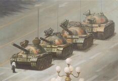 Tanks on street Royalty Free Stock Photo