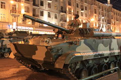 Tanks in the street of Moscow. Tanks go on streets of Moscow for rehearsal of parade of the Victory Royalty Free Stock Photography