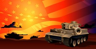 Tanks at Sunset. A depiction of tanks roaming around in the sunset hours, prepared for battle. The american flag is in the background giving the illustration a royalty free illustration