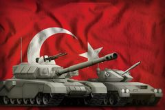 Turkey tank forces concept on the national flag background. 3d Illustration. Tanks on the Turkey flag background. Turkey tank forces concept. 3d Illustration royalty free stock image