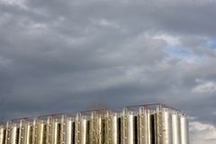 Tanks under clouds Royalty Free Stock Photo