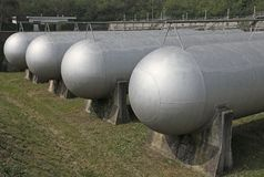 Tanks very sturdy to hold methane gas Stock Photos