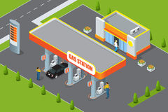 Tankstelle 3d isometrisch Tankstellekonzept Flache Vektorillustration der Tankstelle Tanksäule, Auto, Shop, Ölstation Lizenzfreie Stockbilder