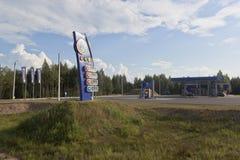 Tankstelle-Firma-` NTC ` auf Sukhonsky-Fläche in Nyuksensky-Bezirk Vologda-Region Lizenzfreies Stockbild