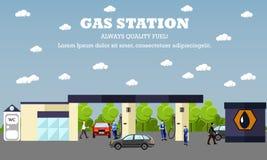 Tankstelle-Konzeptvektorfahne In Verbindung stehende Service-Gebäude des Transportes Leute tanken ihre Autos Stockbilder