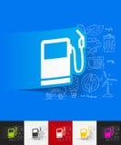 Tankstelle-Papieraufkleber mit Hand gezeichneten Elementen Stockfoto
