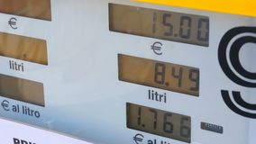 Tankstelle-Zähler Gaskosten, die für Verbraucher an den Pumpen steigen stock video footage
