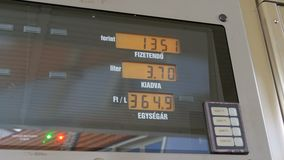 Tankstelle-Zähler Gaskosten, die für Verbraucher an den Pumpen steigen stock video