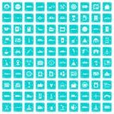 100 Tankstelleikonen stellten Schmutz blau ein Lizenzfreie Stockbilder