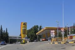 Tankstellen ` Rosneft-` auf Lenin-Straße in der Regelung von Adler, Sochi Lizenzfreies Stockfoto