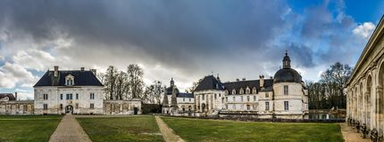 Tanlay castle panoramic view, spring day, cloudy weather, France Stock Photography
